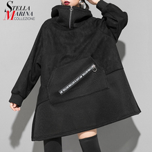 새로운 2019 일본식 여성 독특한 겨울 블랙 스웨이드 후드 티셔츠 프론트 포켓 숙녀 플러스 사이즈 따뜻한 후드 티 femme j216