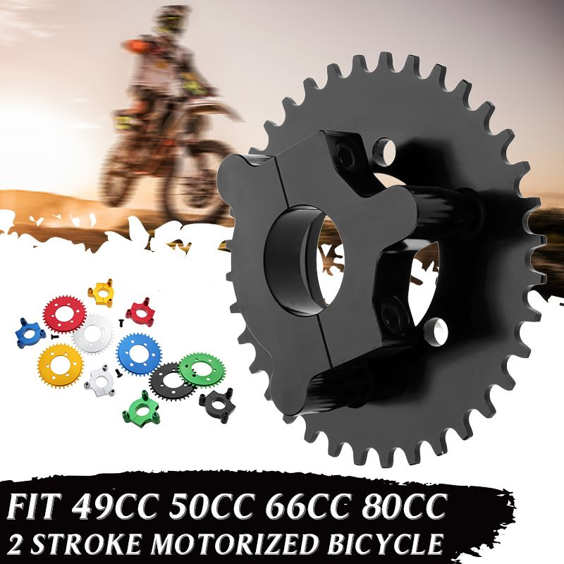 CNC Motorcycle <font><b>36T</b></font> <font><b>Sprocket</b></font> With Adapter For 49cc 50cc 66cc 80cc 2 Stroke Motorized Bicycle image