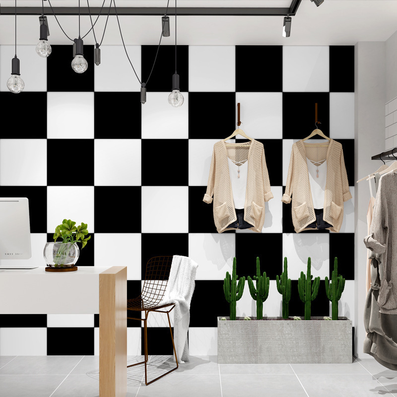 Black And White Plaid Square Wallpaper Modern Minimalist Restaurant Hair Salon Hair Dressing Hairdressing Clothing Store WOMEN'S
