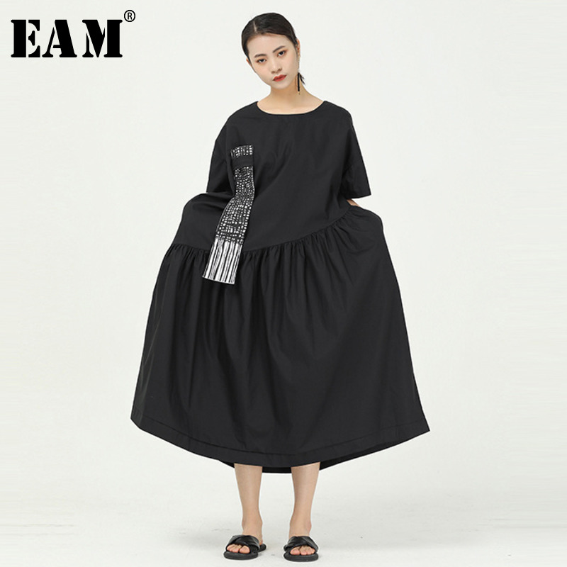 [EAM] Women Black Pattern Printed Big Size Long Dress New Round Neck Short Sleeve Loose Fit Fashion Spring Summer 2020 1W092