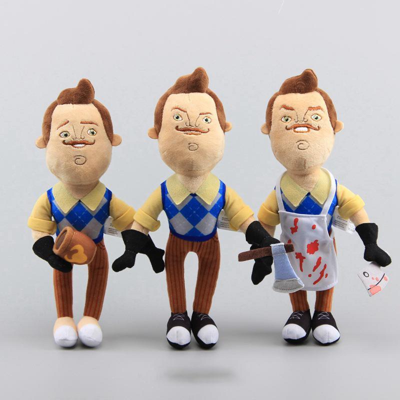30cm jogo olá vizinho brinquedos de pelúcia dos desenhos animados o vizinho avental & cleaver & café macio recheado boneca brinquedos para crianças presentes