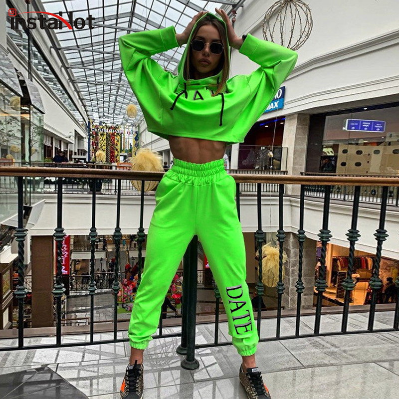 InsataHot Women Hooded Cotton Two Piece Set Letter Printed Crop Top And Elastic Pants Streetwear Casual Autumn Winter Tracksuit