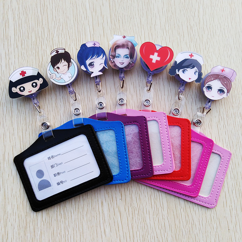 1Pcs/lot Cute Acrylic Cartoon Nurse Retractable Badge Reel With Horizontal Style PU ID Business Card Work Card Badge Holder