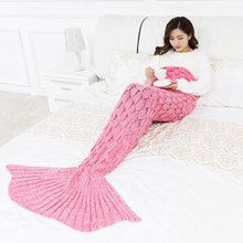 princesses dream 9 Colors large Soft Knitted Mermaid Tail Blanket  Sleeping Wrap Crochet Handmade Sleeping Bag for Best Birthday knitted fishbone sofa wrap kids mermaid tail blanket