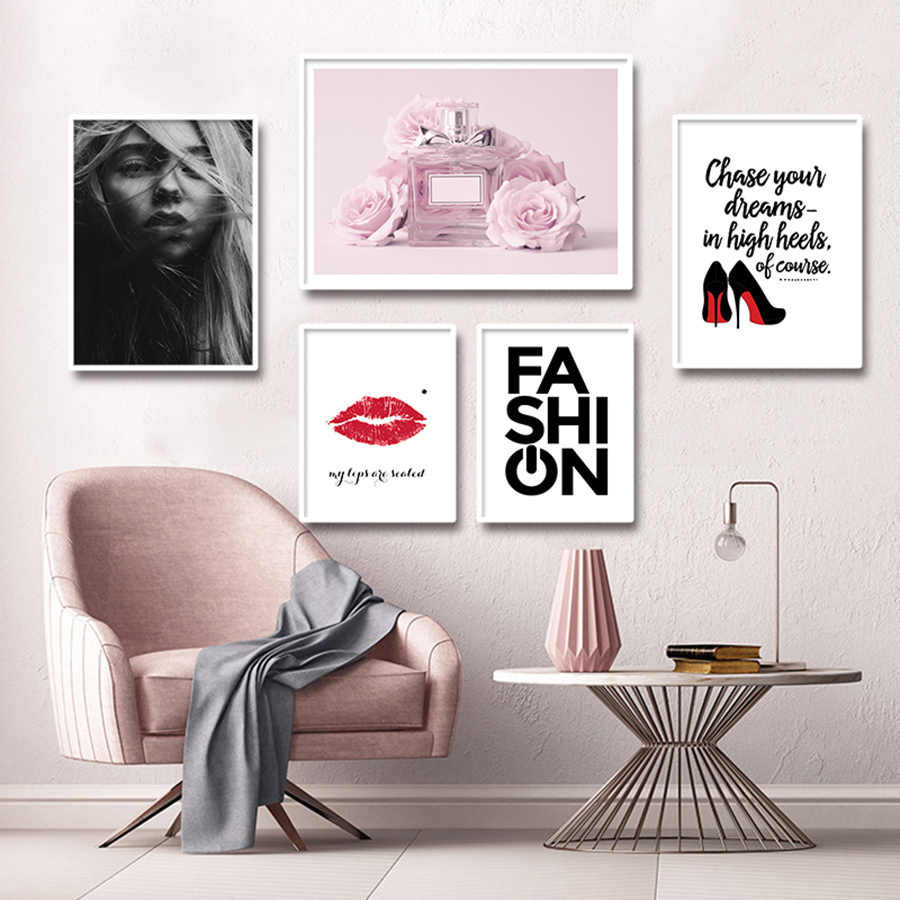 Fashion Art Print Nordic Decoration Wall Art Canvas Paintings Girl Bedroom Wall Poster Pink Perfume Picture Decotative Painting