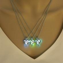 2019 Hot Sale Glowing Stone Pendant Necklace Women Fashion  Luminous Heart Glow in the Dark Sliver Jewellery