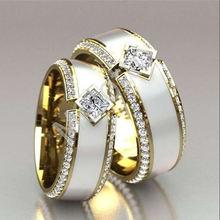 Модные женские популярные золотые Роскошные Циркон пару обручальное