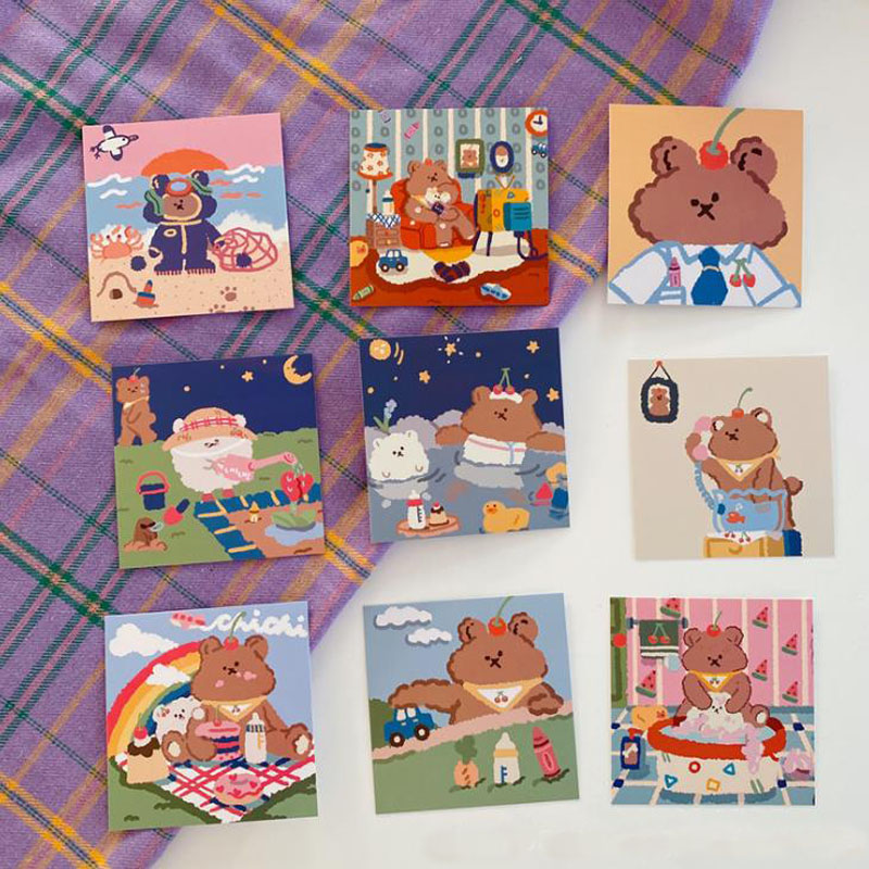 9 Pcs/pack Cute Candy Soft Bear Card Graph Wall Bedroom Decoration Postcard Message Cards Photo Props Sticker Korean Stationery