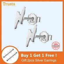Trusta 100% de la joyería de la plata esterlina 925 de moda lindo pequeño 9mmX3mm rayo pendientes regalo para niñas niños mujeres DS57