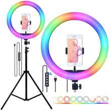 Fosoto rgb светодиодный светильник для селфи с штативом usb