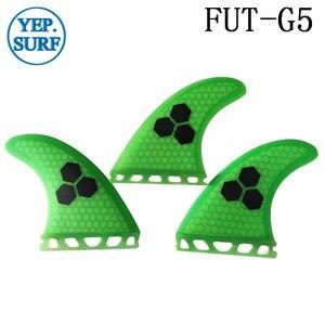 Image 4 - 2019 yeni sarı/mavi/turuncu/gri/yeşil renk gelecek G5 Fin fiberglas yüzgeçleri sörf petek Quilhas kürek kurulu sörf tahtası yüzgeçleri