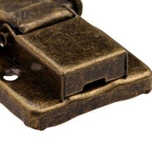 Image 3 - Dophee 5 pçs caso fivela de ferrolho trava gancho fecho de bloqueio jóias móveis decorativos caixa de presente de madeira bronze