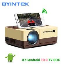 BYINTEK miniproyector K7 1080P, dispositivo de cine en casa con Android 10 opcional, LED, Wifi, portátil, proyector de vídeo para teléfono inteligente 3D 4K