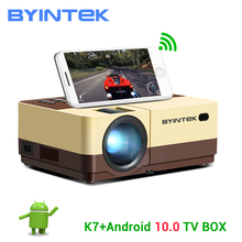 Byintek K7 Mini 1080P Projector (Optioneel Android 10 Tv Box) wifi Led Draagbare Video Beamer Voor Smartphone 3D 4K Home Theater