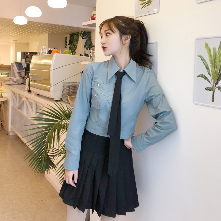 Korean-style Wear Fashion Tie With Long-sleeved Shirt Women's + Pleated Skirt Pants Short Skirt