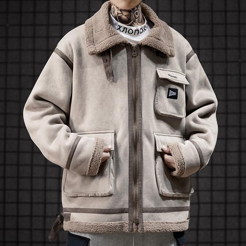 Faux cuir daim veste manteau hommes pleine fermeture éclair hiver chaud laine d'agneau col montant vêtement de motard grande taille Bomber vestes - 5