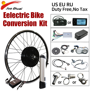 Kit de conversión de bicicleta eléctrica con Motor delantero/trasero, batería LCD/LED, resistente al agua, kit de bicicleta eléctrica