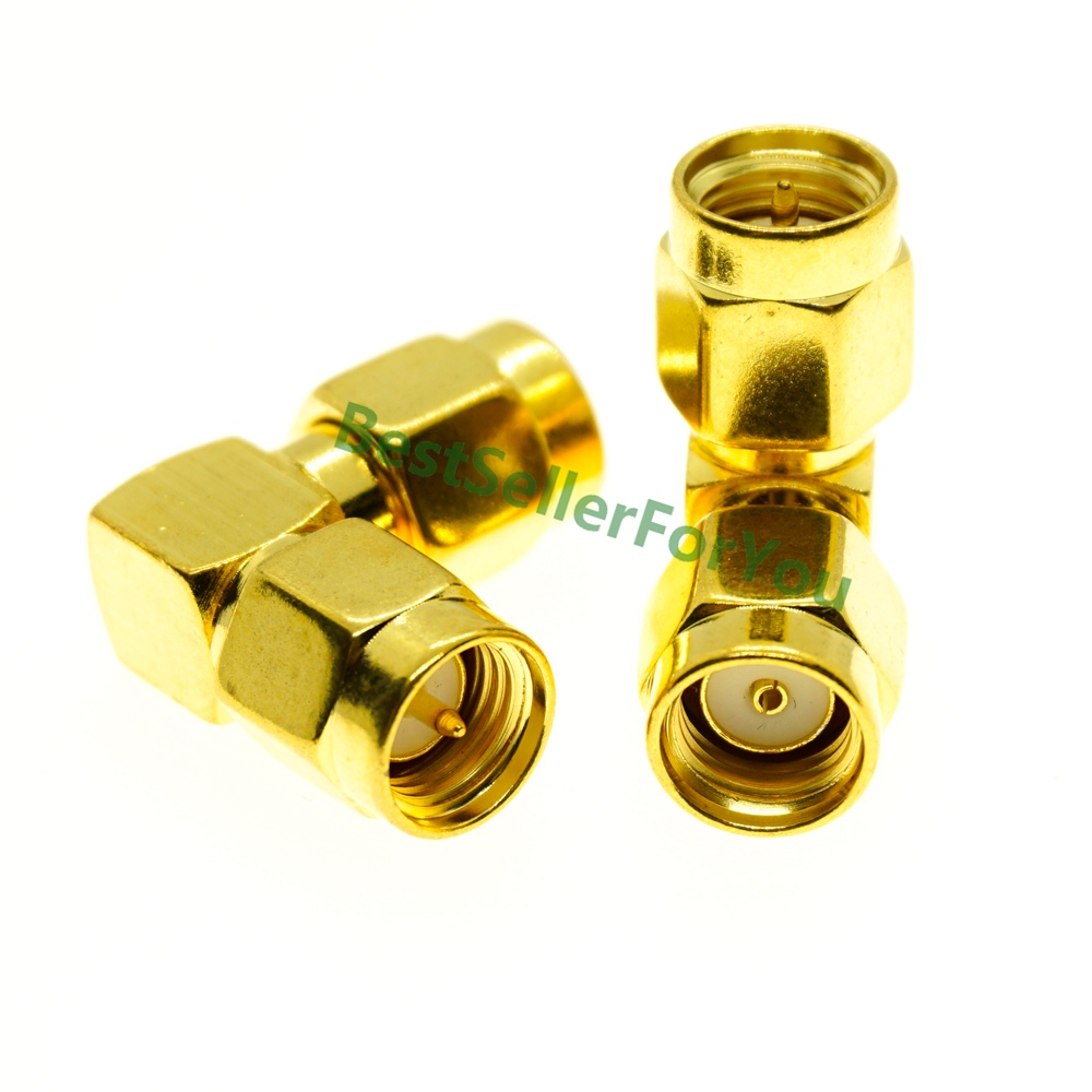 Right Angle 90 Degree SMA Male To RP SMA Male RPSMA Plug RF Coax Adapter Straight Goldplated NEW Wholesale