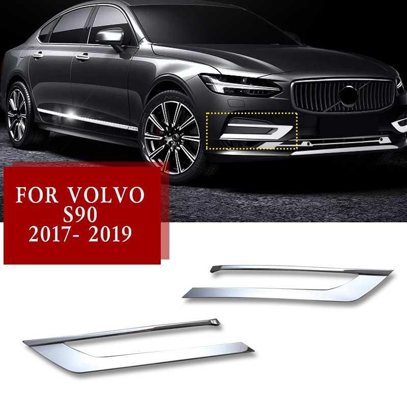 ABS Chrome Front Fog Light Lamp Cover Trim 2pcs For Volvo S90 2017-2019