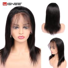Wignee 13*4 Straight Human Wigs With Baby Hair For Black/White Women Remy Brazilian PrePlucked Natural Hairline
