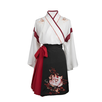 Japanese Dress Kimono Woman Black White Cat Embroidery Sweet Vintage Asian Clothing Yukata Haori Cosplay Party 2pieces Set 5