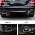 Tonlinker Обложка наклейки для BENZ E200/E300L 2016 автомобильный Стайлинг 2 шт из нержавеющей стали обновление двойная переменная 2-4 хвостовое горло