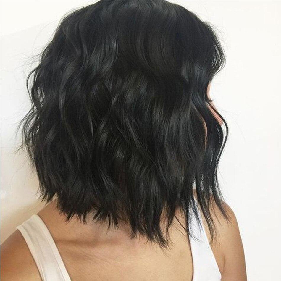 13x6 peruka z naturalnych krótkich włosów brazylijski Remy włosy koronki przodu Bob peruka dla kobiet naturalny fala czarny kolor włosów bielone węzłów LUFFY w Peruki z ludzkich włosów na siatce od Przedłużanie włosów i peruki na AliExpress - 11.11_Double 11Singles' Day 1