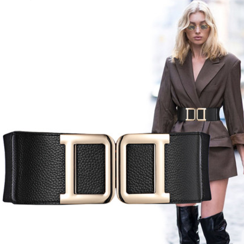 Plus Size Belt Ladies Waist Corset Belts For Women Double D Buckle Elastic Wide Cummerbunds Luxury Brand Cinturon Mujer 2020