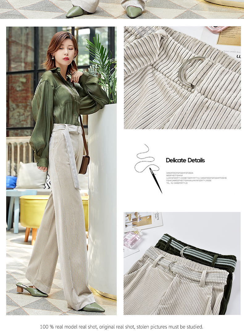 Corduroy Wide Leg Pants Women 19 Autumn Pleuche High Waist Casual Loose Full Length Pants Korean Palazzo Plus Size Trousers 3