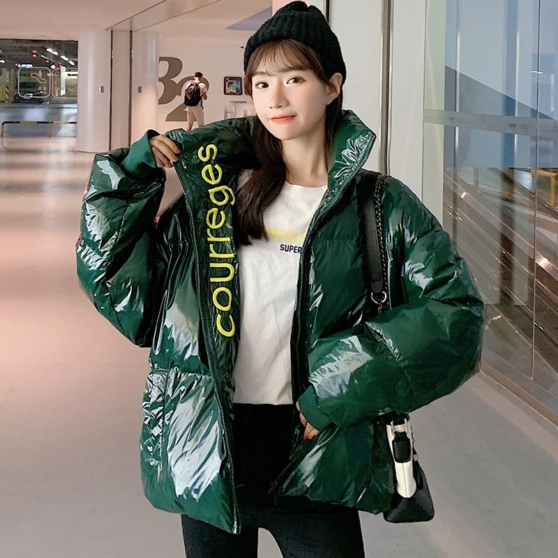 2019 New Jacket Winter Glossy Down Parkas Women Waterproof Coat Warm Loose Shine Parka Zipper Fashion Cold Cotton Padded Jackets