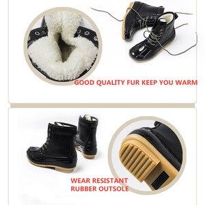 Image 5 - STS bayan botları bayan ördek çizme su geçirmez fermuar kauçuk taban kadın yağmur çizmeleri ayak bileği bağcığı ayakkabı kürk kış kadın ayakkabı