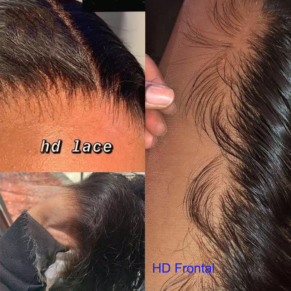 HD Lace Frontal Pre Plucked 13x4 Lace Frontal Closure Body Wave Peruvian Virgin Closure Bleached Knots Transparent Lace Frontal