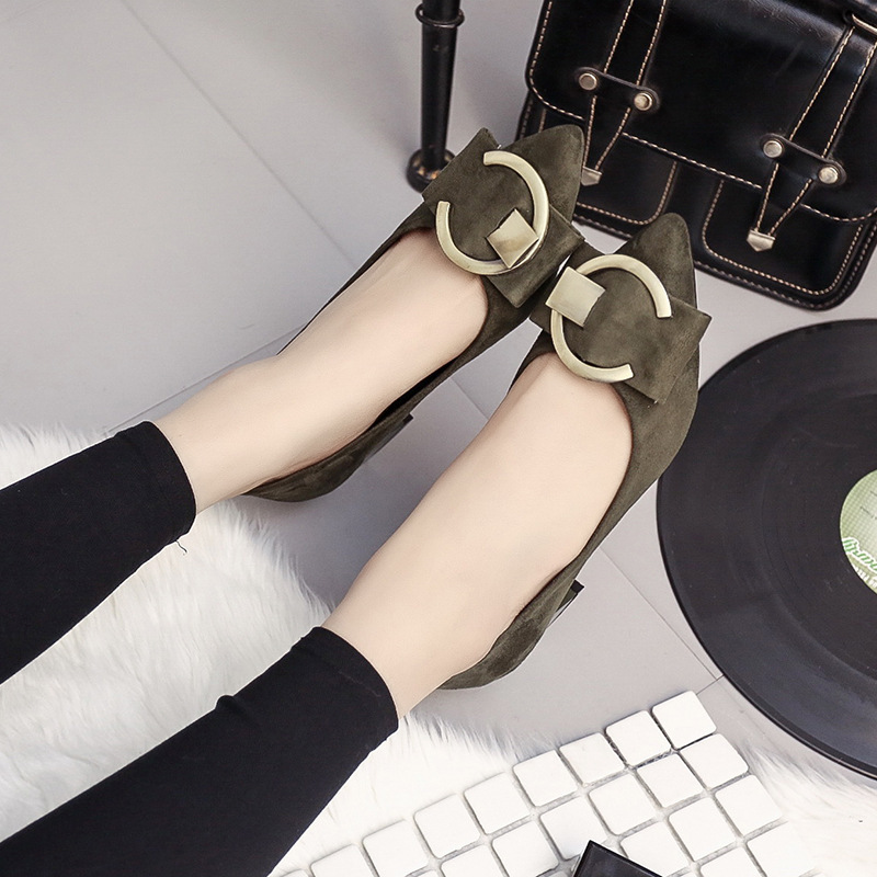 Versatile Korean-style WOMEN'S Pumps Suede Chunky-Heel Pointed Toe High Heel Shoes Black And White With Pattern Semi-high Heeled