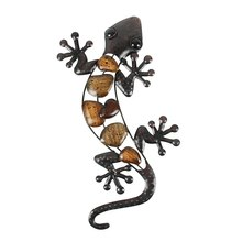 Home Decor Metalen Gekko Muur Voor Tuin Decoratie Outdoor Standbeelden Accessoires Sculpturen En Animales Jardin(China)