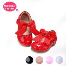 Pettigirlใหม่Designsสาวโบว์รองเท้า5สีไมโครไฟเบอร์หนังรองเท้าเด็กรองเท้าขนาด (ไม่มีกล่องรองเท้า)