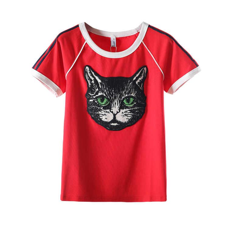 3D Printing Lengan Pendek T-shirt Fashion Longgar Plus Ukuran Wanita Pola T Shirt dengan Cat Kawaii Wanita Merah Raglan Kemeja HH50DX