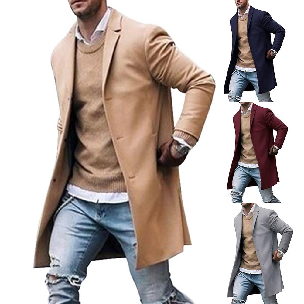 Chic Men Winter Lapel Collar Single-breasted Pockets Woolen Jacket Trench Coat Business Casual Overcoat  Trench Coat