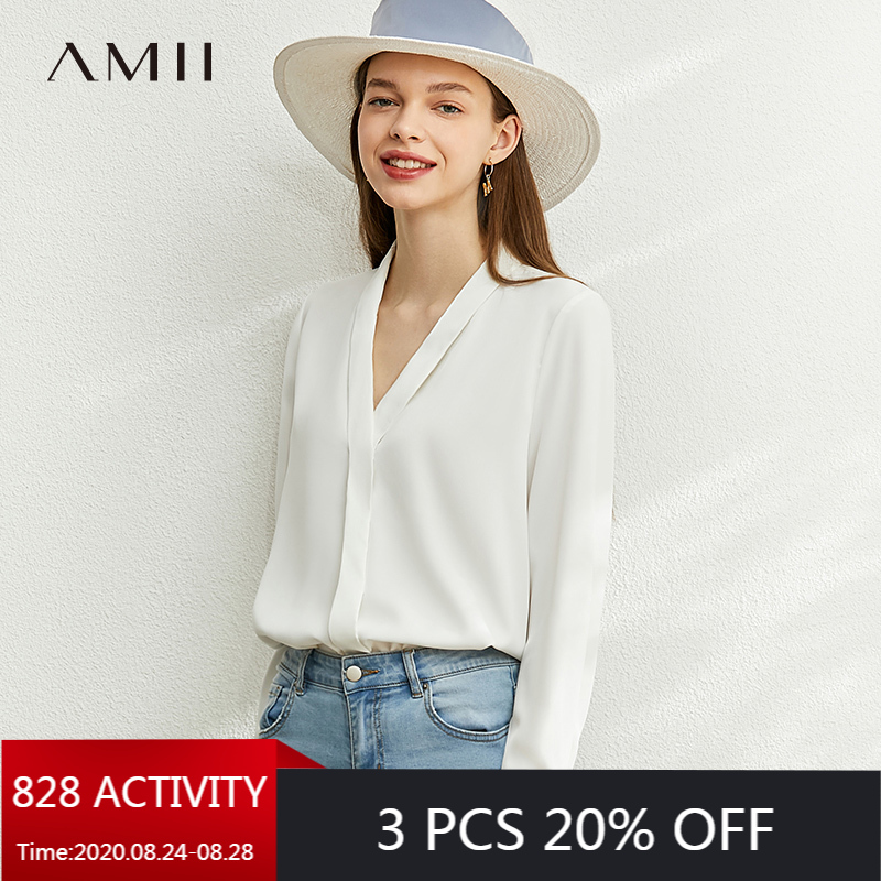 AMII Minimalism Autumn Fashion Solid Vneck Loose Women Blouse Tops Causal Full Sleeve Loose Female Shirt Tops 12040074