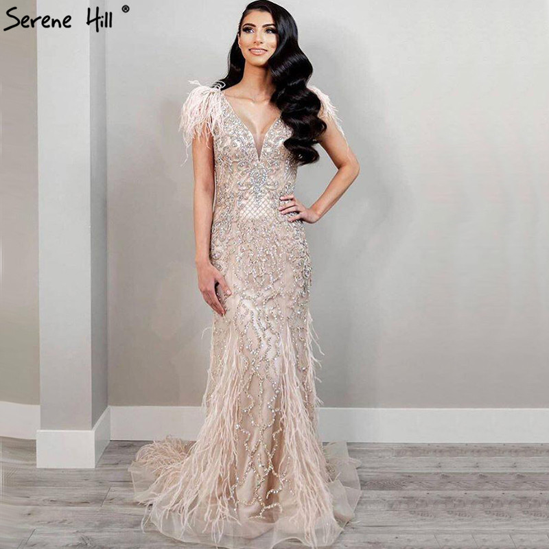 Serene Hill Champagne Luxury Beaded Evening Gown 2021 Sexy V-Neck Sleeveless Feathers Mermaid Stretchy Party Dress CLA70350
