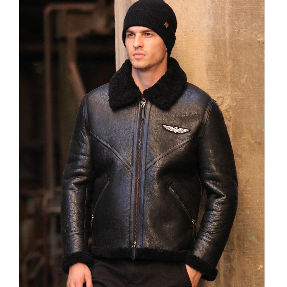 SANI 2019 New Men Black Real Fur Coat Witner Warm Short Genuine Leather Jacket Formal Businesmen Meeting Sheepskin Fur Clothing