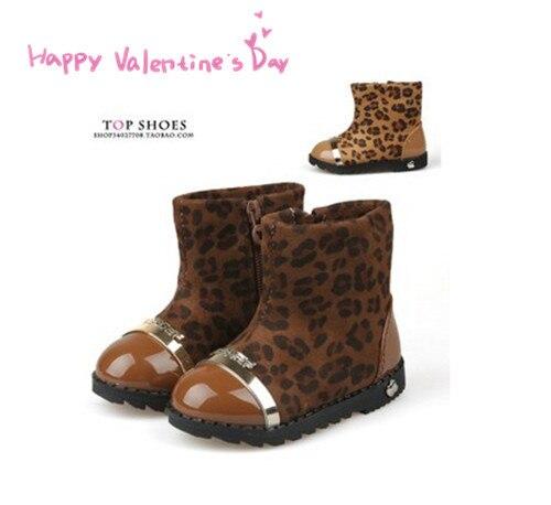 Koovan Children Boots 2020 New Winter Models Side Zipper Soft Soled Baby Leopard Shoes Girls Cotton Boots Kids Children Snow