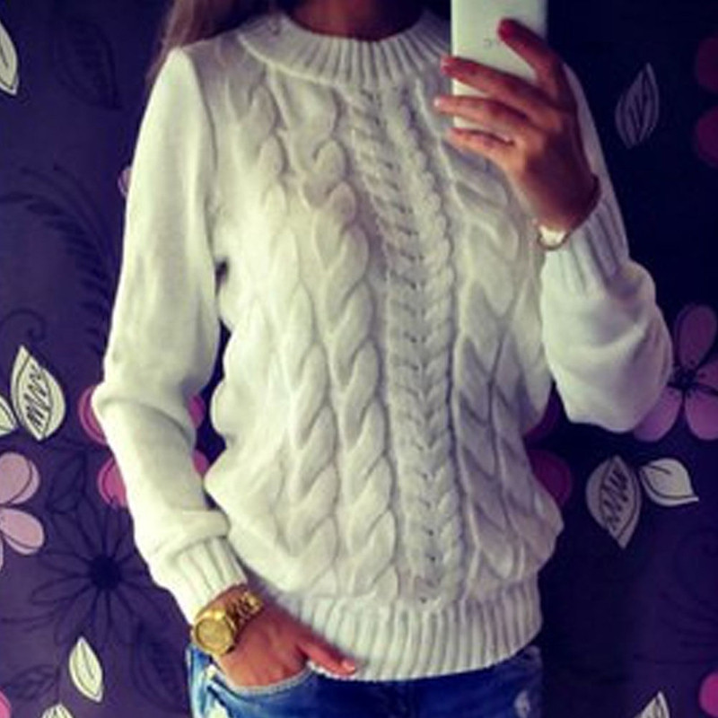 High Quality Fashion Casual Women's Clothing Female Solid Color O-Neck Long Sleeved Knitted Sweater Women Soft Pullovers