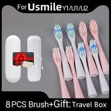Cabeças de escova de dentes adequadas limpas 8 pces substituição para usmile y1/u1/u2 rosa inteligente dente substituir cabeças de escova presente caixa de viagem