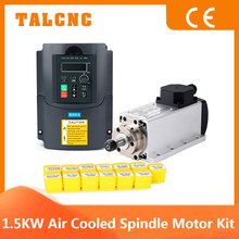 1.5kw 220v or 110v CNC ER11 Air Cooling Spindle 1500W Square Air-cooled Milling Spindle + 1.5KW VFD Inverter + 1 set ER11