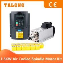 Square Spindle Motor 1.5 KW CNC Spindle Motor Air Cooled Kit 220V / 110 V Inverter VFD Converter Controller ER11 Collet Chuck