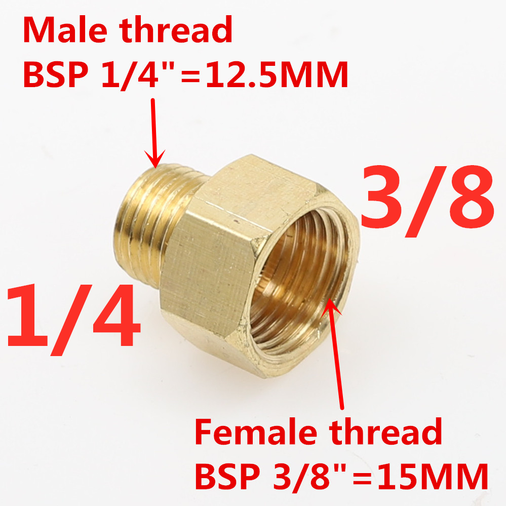 """2 PCS 3//8/"""" Male Bsp to 1//4/"""" Female BSP Brass Pipe Fitting Reducing Bushing"""