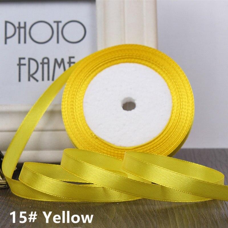25 ярдов/рулон 6 мм 10 мм 15 мм 20 мм 25 мм 40 мм 50 мм шелковые атласные ленты для рукоделия бант ручной работы подарочная упаковка вечерние свадебные декоративные - Цвет: 15 yellow