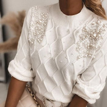 Knitted Sweaters Women O Neck Long Sleeve Solid Color Sweater Pearls Elegant Office Lady Sweater Female Pull 2021 Spring Autumn 1