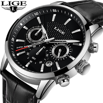 LIGE Fashion Mens Watches Top Brand Luxury Waterproof Military Chronograph Sport Quartz Wrist Watch Men Clock Male Reloj Hombre chronograph watch mens wallet gift set for male luxury wristwatch for men quartz leather strap wrist clock birthday gift reloj