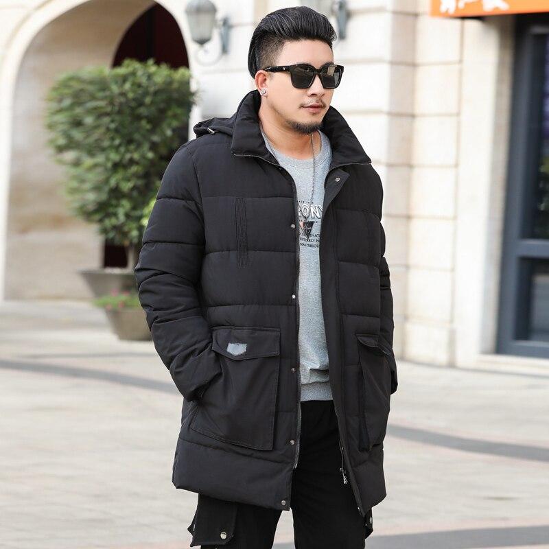 Плюс размер 10XL 9XL 8XL парка для мужчин новая зимняя куртка с капюшоном для мужчин длинная куртка однотонное пальто парки молодежная одежда - 5